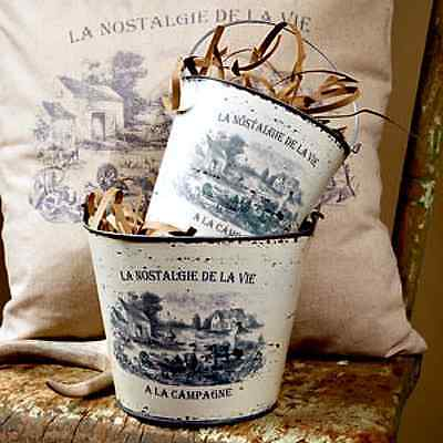 New French Country Farmhouse Chic Shabby Black White Set 2 Village Pail Buckets