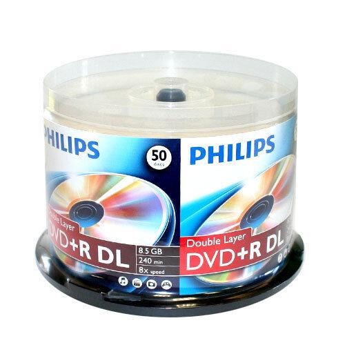 50 PHILIPS 8X DVD+R DL Dual Double Layer 8.5GB  Logo Media Disc Cake Box/240mins
