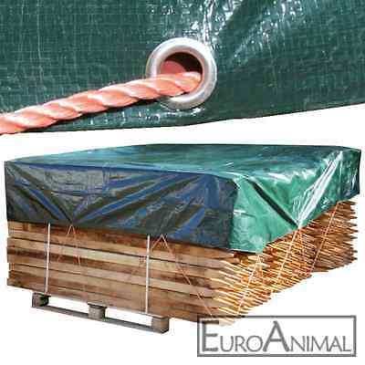 Abdeckplane Schutz Gewebe Plane PVC Garten Abdeckung Holz 5x3,5m Ösen grün