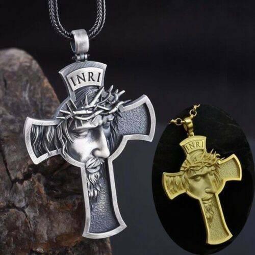 Jesus Cross Necklace Men Jewelry Religious Savior Pendant Ch