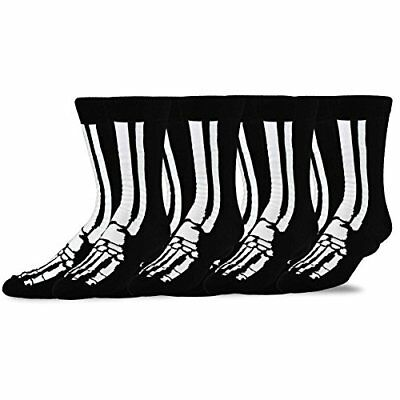 TeeHee Novelty Young Men Halloween Fun Crew Socks 4-Pack (Skeleton)