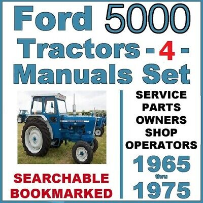 4 Ford 5000 Service Manual Tractors Service Parts Owners Manual 1965-1975 Cd