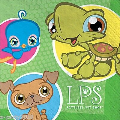 LITTLEST PET SHOP LUNCH NAPKINS (16) ~ LPS Birthday Party Supplies Dinner Large