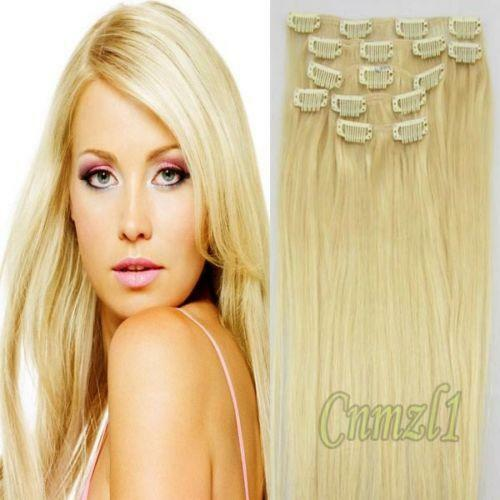 Clip In Human Hair Extensions Blonde Ebay