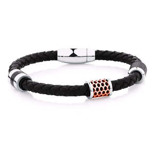 Men's Bracelet in Black Leather & Rose Plated Stainless Steel Bassendean Bassendean Area Preview