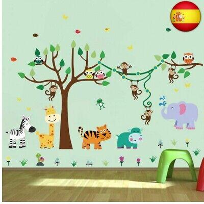 decalmile Pegatinas de Pared Infantiles Animales Árbol Vinilos Decorativos Mono