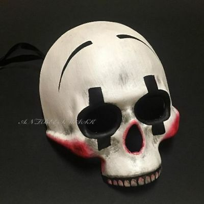 Halloween Clown Skull Half Face  Day Of Dead Costume Masquerade Mask - Half Skull Costume