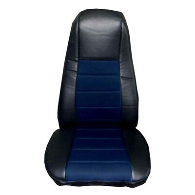 Seat Cover w/Pocket- Black & Blue Faux Leather Peterbilt Freightliner Semi Truck Blue Simulated Leather Cover