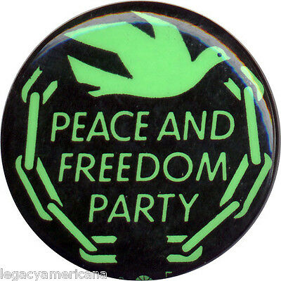 1968 Vietnam Era Peace and Freedom Party Dove-and-Chain Logo Button (1247)