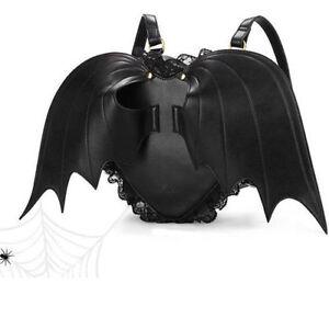 Fashion Novelty Black Bat Heart wings bag Backpack goth punk lace lolita Gothic