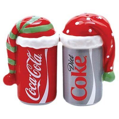 Coca Cola Bundled Up with Hats Cans Ceramic Salt & Pepper Shakers- Westland