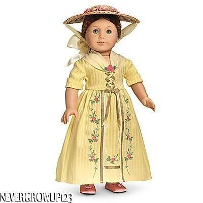 AMERICAN GIRL FELICITY~FELICITY'S TEA LESSON GOWN~DRESS~OUTFIT~HAT~SHOES~NIB