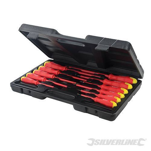 Silverline Insulated Soft Grip Screwdriver Set 11 Piece Slotted Phillips NEW