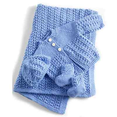 """Baby Layette Matinee Set Jacket/Cardigan Blanket Hat Bootees 18 -26"""" DK To Knit"""