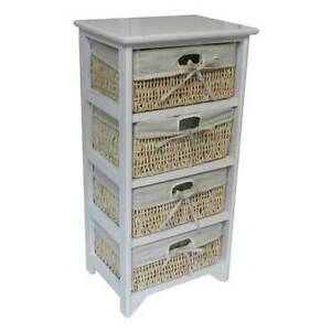 JVL-4-Four-Tier-Maize-Drawer-White-Wood-Storage-Unit-Cabinet-with-Fabric-Lining