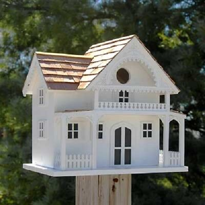 SHELTER ISLAND SUMMER COTTAGE WHITE  BIRD HOUSE by HOME BAZAAR - FREE SHIPPING