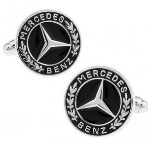 Mercedes Benz Silver Black Cuff Links Stylish Mens Cufflinks in gift bag Car