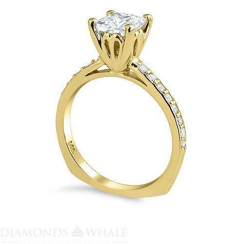 Princess Cut Diamond Engagement Ring Yellow Gold