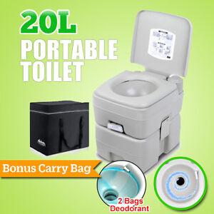 20L Outdoor Portable Camping Toilet w/ Carry Bag Caravan Travel Bucket Boat