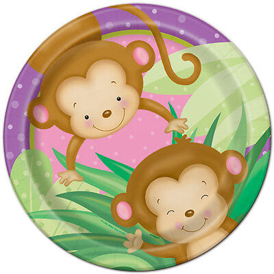 BABY GIRL MONKEY LARGE PAPER PLATES (8) ~ Shower Party Supplies Dinner Luncheon Baby Shower Paper Luncheon Plates