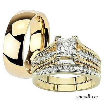 Gold Wedding Band Set - His & Hers 3 Piece 14k Gold Plated Stainless Steel CZ Wedding Ring Band Set