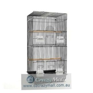 Portable Bird Cage with Perches Black 88cm Height