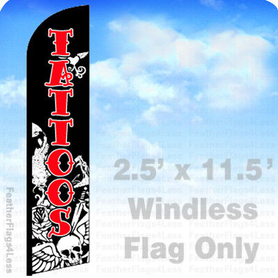 Tattoos - Windless Swooper Flag Feather Banner Sign 2.5x11.5 - Kf