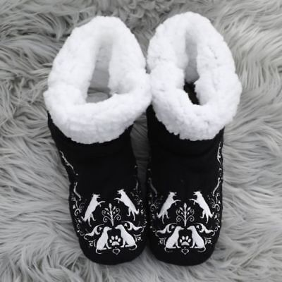 Faceplant Dreams Dog Black White Paw Print Fluffy Warm Booties Winter Small