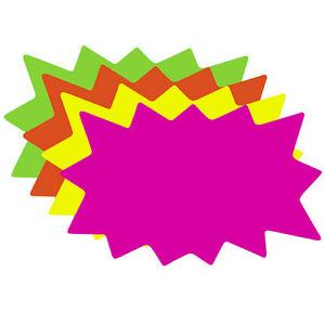 100 Small Blank Solar Star Burst Neon Fluorescent Retail Sale Signs 25 ea Color