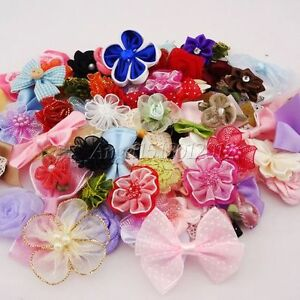 50pcs-Ribbon-bow-flowers-appliquest-craft-lots-mix-Free-Shipping-A087