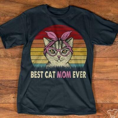Best Cat Mom Ever Vintage Ladies T-Shirt Cotton