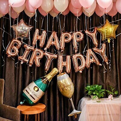 Gold Party Supplies (Rose Gold Birthday Party Decorations Set with Happy Birthday Balloons Banner)