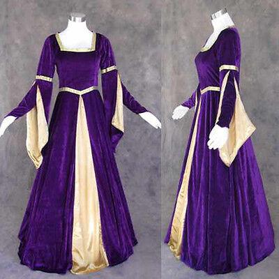 Purple Velvet Medieval Renaissance Gown Dress Costume LOTR Wedding 2X - Purple Renaissance Costumes
