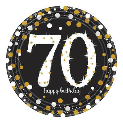 SPARKLING CELEBRATION 70th Birthday LARGE PAPER PLATES (8) ~ Party Supplies