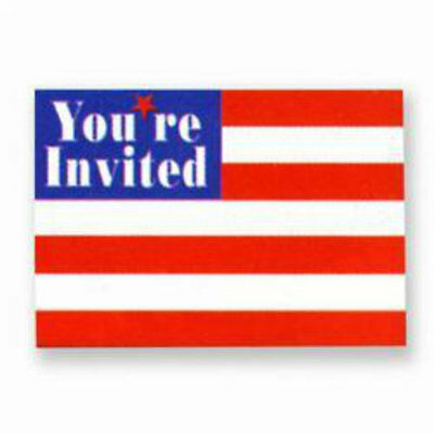 Stars & Stripes Invitations (8) - Patriotic Party Supplies