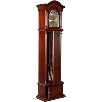 Solid Wood 6 Gun Storage Concealment Grandfather Clock Safe Locking Home Cabinet