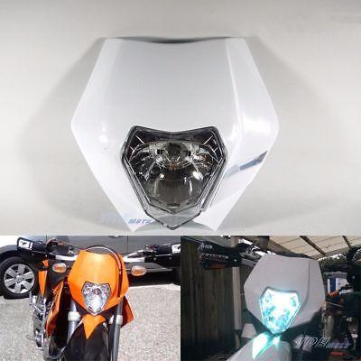 White Rec Reg Halogen Headlight Suit Honda KTM Husqvarna Yamaha Suzuki Kawasaki