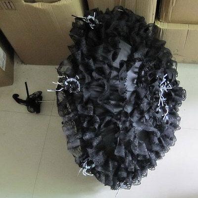 Gothic Lolita Layer Lace Umbrella Parasol EGL Steampunk Cosplay Black White Rose - Black Lace Umbrella