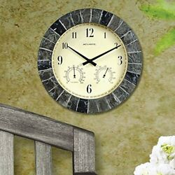 AcuRite 02418 14-Inch Faux-Slate Indoor/Outdoor Wall Clock with Thermometer, Hy