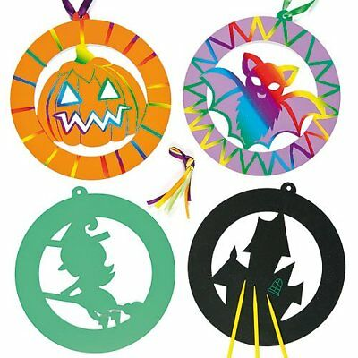 SALE 6 HALLOWEEN Scratch Art Hanging Decorations for Kids Design Craft Party Bag