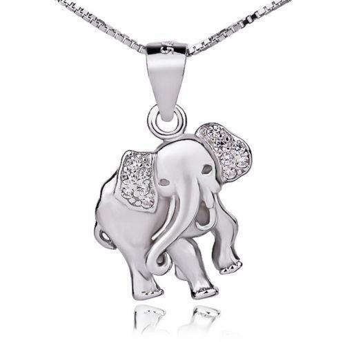 Sterling silver elephant necklace ebay aloadofball Image collections