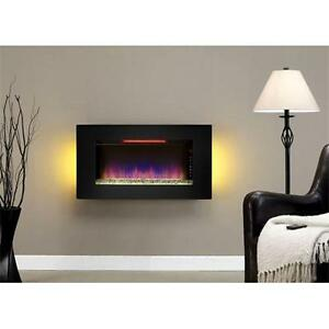 LORD SELKIRK FURNITURE  Classic Flame 36II100GRG Elysium Wall Hanging Fireplace in Black  $479.00