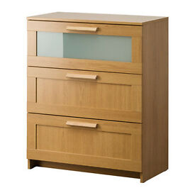 Chest of 3 drawers ( BRIMNES Oak effect/frosted glass )