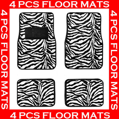 ZEBRA BLACK WHITE CARPET FLOOR MATS FOR CAR 4 PCS  BEST QUALITY