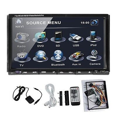 "Card+2 DIN 7"" Car DVD Player In-Dash Stereo Radio iPod TV Bluetooth USB SD on Rummage"