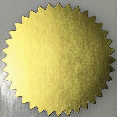 Matte Gold Foil Notary Certificate Seals 2.25 Inch Burst Roll Of 100 Seals