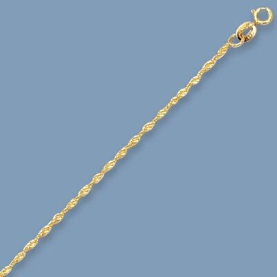1.5mm Solid Singapore Chain Anklet ANkle Bracelet Real Solid 14K Yellow Gold Yellow Gold Singapore Anklet