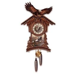 Bradford Exchange Timeless Majesty Collectible Cuckoo Clock With Bald Eagle Art