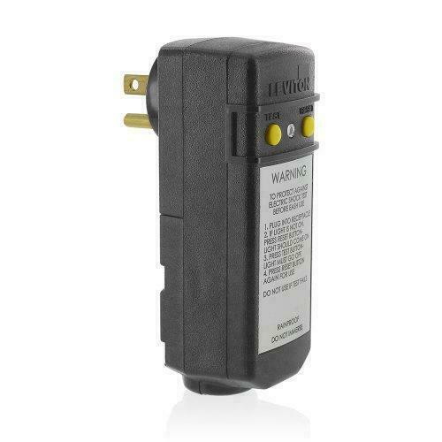 Leviton 16693 15-Amp, 120-Volt, Grounded, Compact Automatic Reset Right Angle
