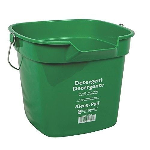 San Jamar KP320 Green Kleen Pail Container, 10qt Capacity, For Cleaning Solution
